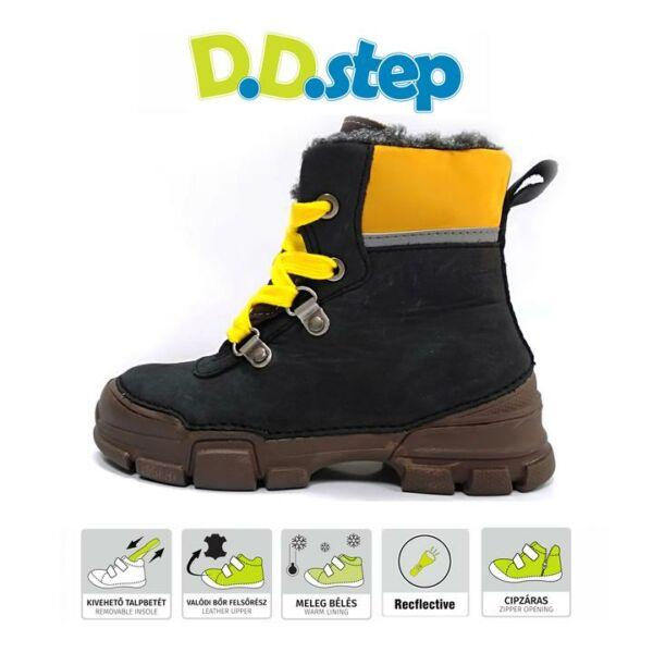 D.D. Step fekete bélelt bakancs - vízálló - 056-3