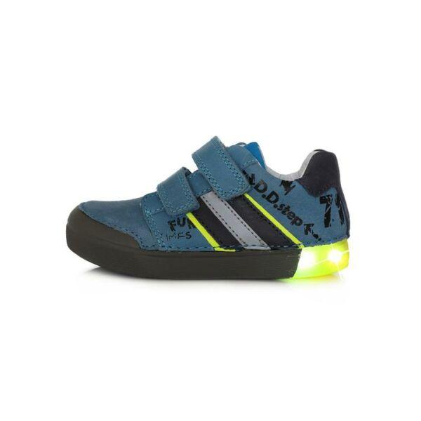 D.D. Step világító talpú világoskék neonsárga bőrcipő