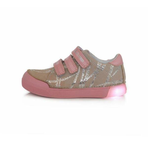 D.D. Step világító talpú ezüst rózsaszín bőrcipő - 068-470A