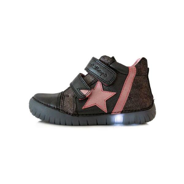 D.D. Step világító talpú fekete csillagos bőrcipő - 050-7D