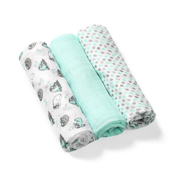 BabyOno színes textilpelenka bambusz 3db-os halványzöld --397/04