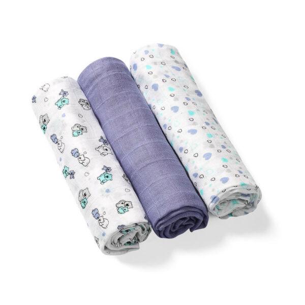 BabyOno színes textilpelenka bambusz 3db-os lila --397/05