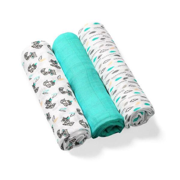 BabyOno színes textilpelenka bambusz 3db-os türkíz --397/06