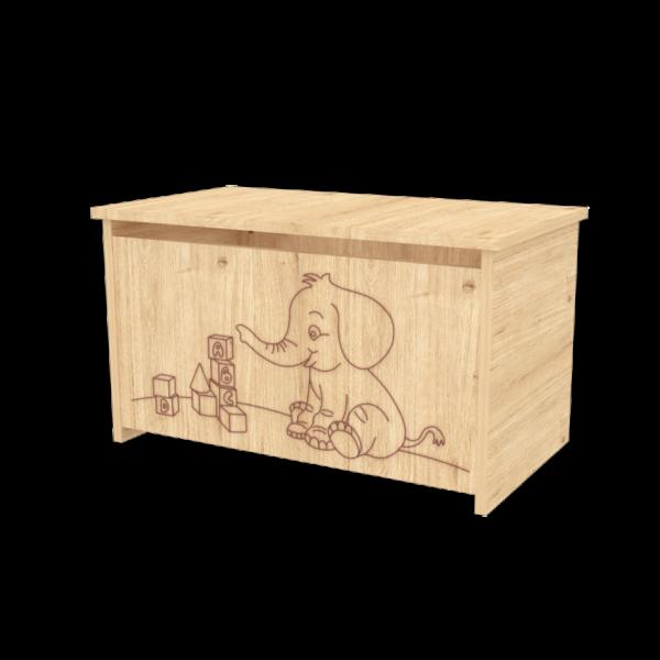 Elefántos játéktároló láda - Mandula