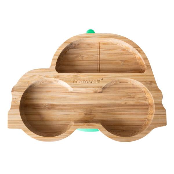 Eco Rascals bambusz autós tányér - zöld