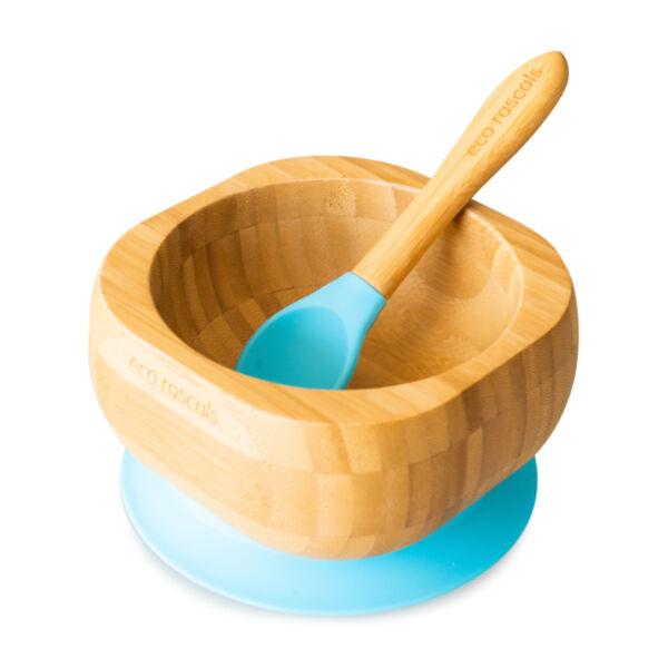 Eco Rascals bambusz edényke kanállal - kék