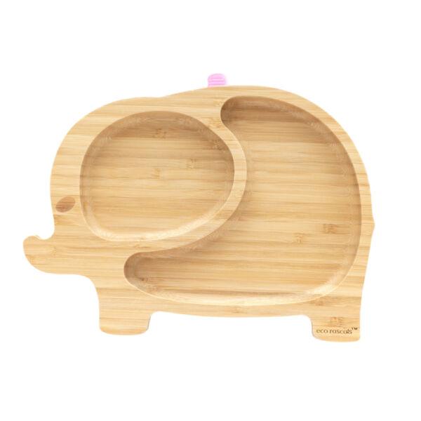 Eco Rascal Elefánt bambusz tányér - Rózsaszín
