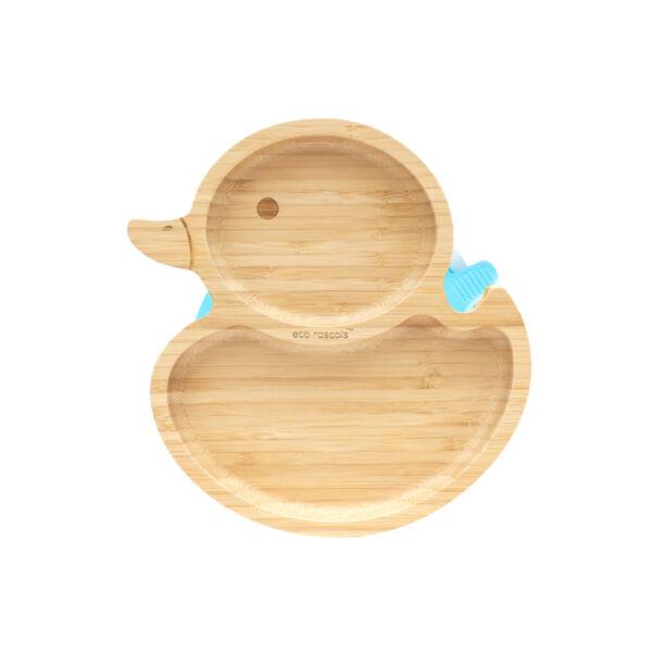 Eco Rascals kacsa bambusz tányér - kék