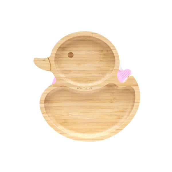 Eco Rascals kacsa bambusz tányér - rózsaszín