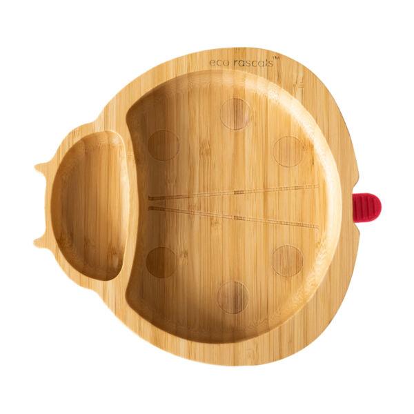 Eco Rascals bambusz katica tányér - piros