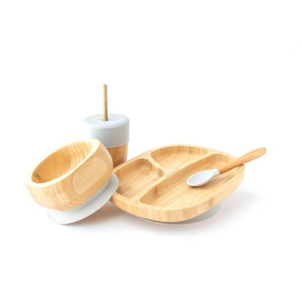 Eco Rascals Gyermek bambusz tányér, edényke kanállal, szívószálas pohár szürke színben ajándék szett